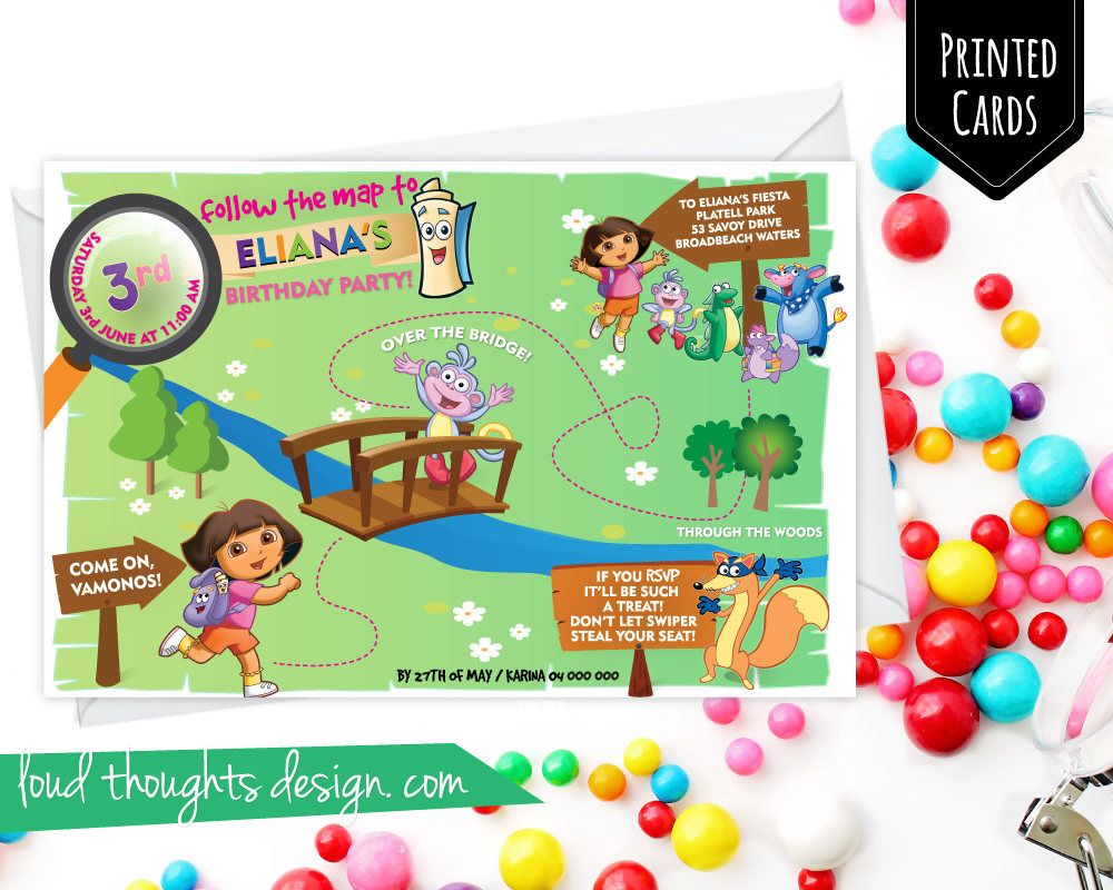 Dora Birthday Invitations/ Dora The Explorer Birthday Invite ...