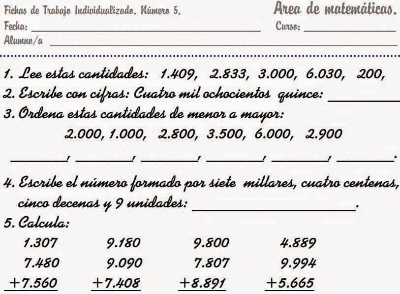 Descargar Ficheros de Matematicas de Primero a Cuarto de Primaria ...