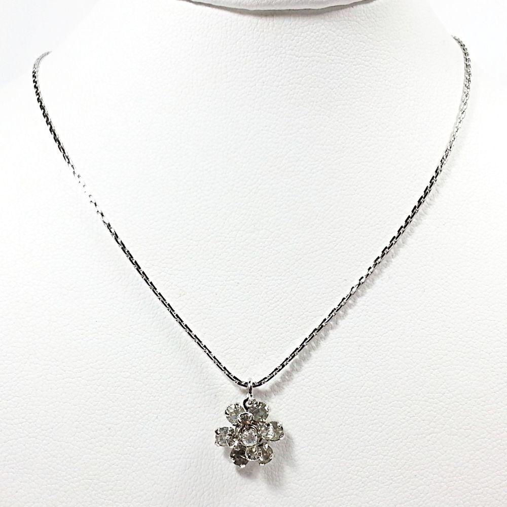 "Snow Sparkle Necklace Vintage Avon Austrian Crystal Silver Tone 18"" Estate V411 #Avon #Pendant"
