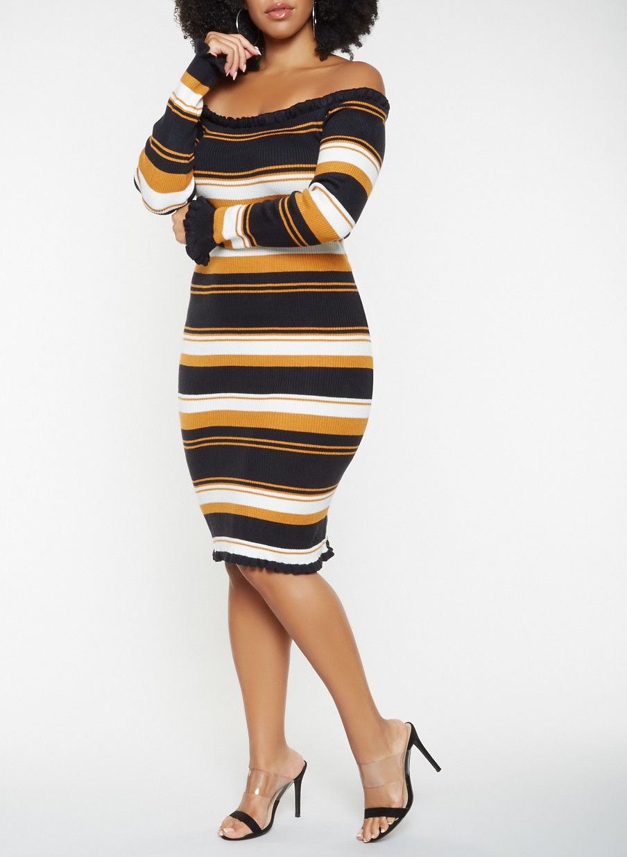 8d400a8b6e6 Plus Size Striped Off the Shoulder Sweater Dress - Yellow - Size 1X ...