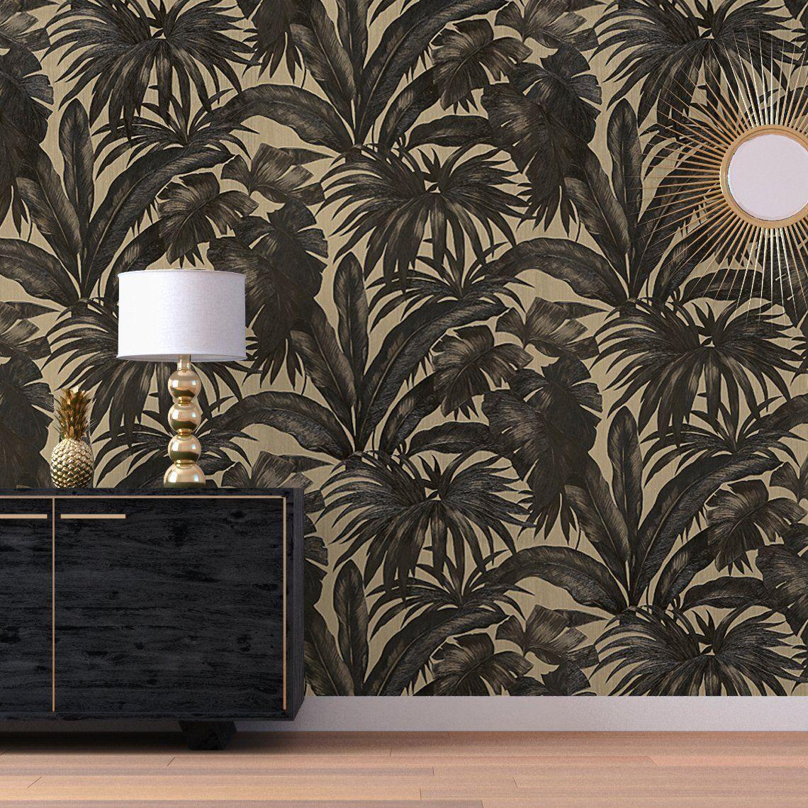 Peindre Papier Peint Motif papier peint darcy vinyle sur intissé motif tropical, noir