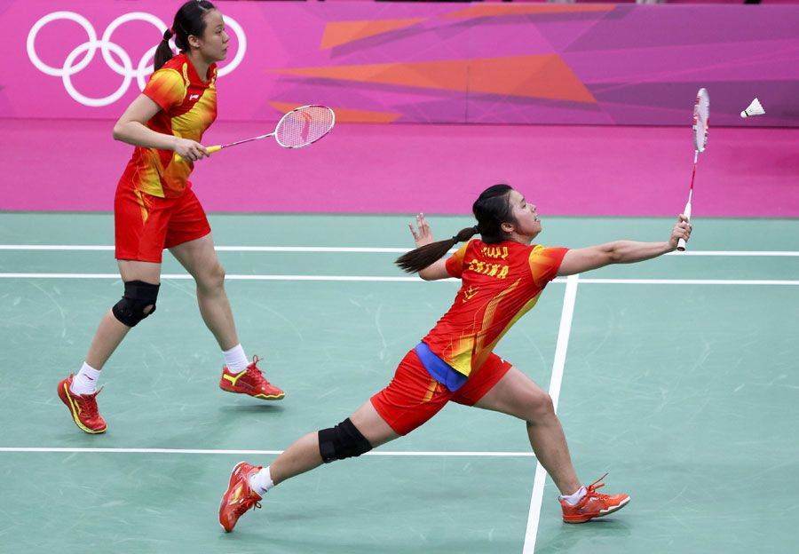 Chinese Women Double Tian Zhao Movie Stars Badminton Poses
