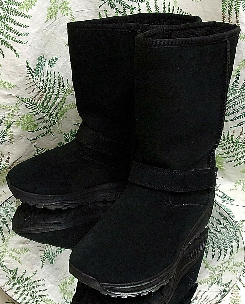 c31b9363df5 SKECHERS SHAPE UPS BLACK SUEDE LEATHER MID CALF BOOTS LINED SHOES WOMENS SZ  8.5  Skechers