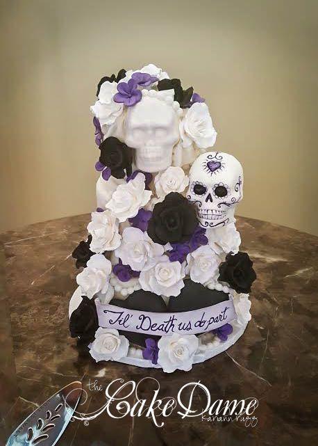 Till Do Us Part Skull Wedding Cake