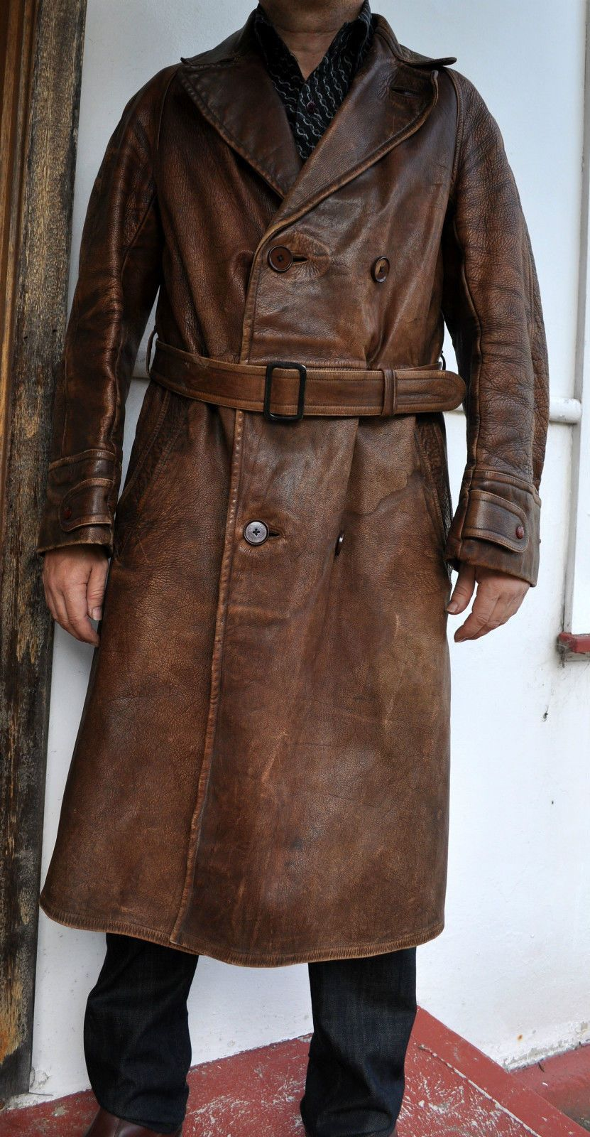 Rare WWI Antique Vintage FullGrain Leather Trench Coat