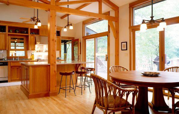 Обои картинки фото интерьер, обои, дом, деревянный, уют ...