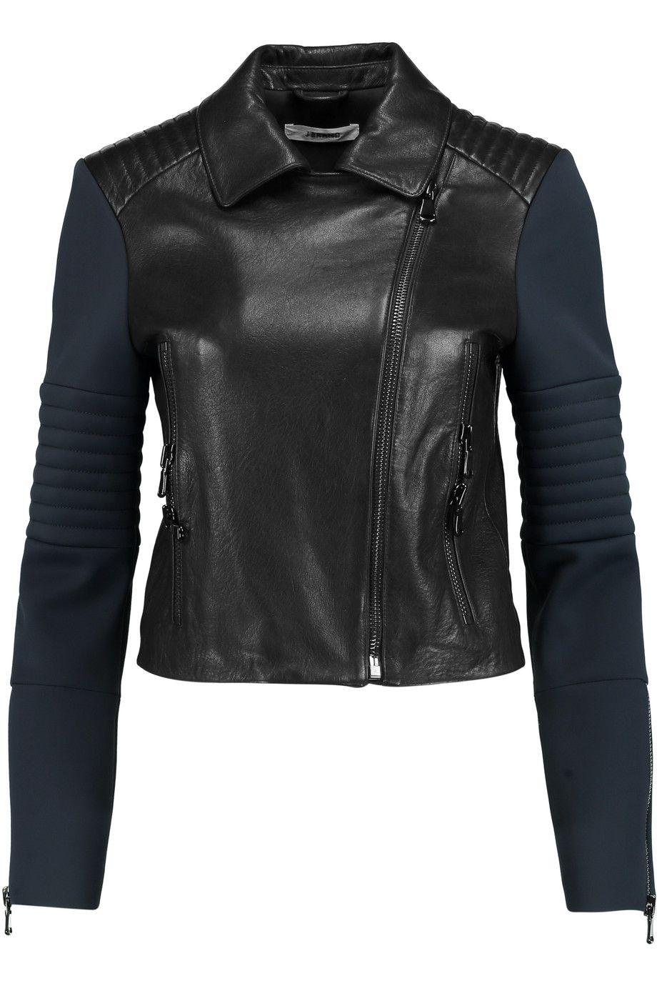 Aiah Neoprenepaneled Leather Biker Jacket Leather