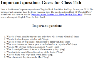 Important questions Guess for Class 11th Here is the Guess of