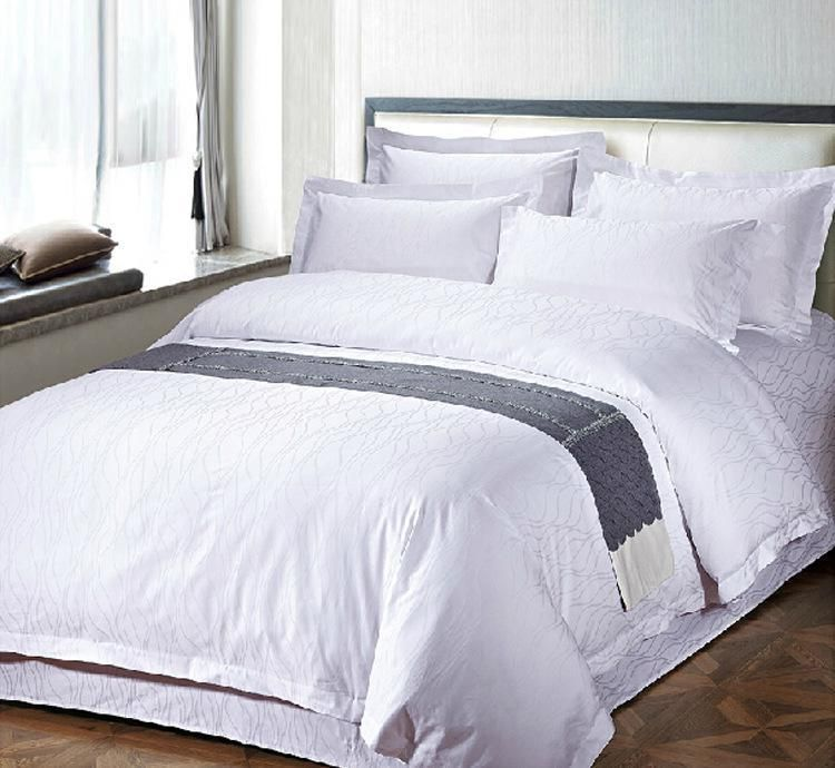 Top Grade 100 Cotton Hotel Bed Linen Textile Products Plain Pure White 5 Star Resort Bedlinen