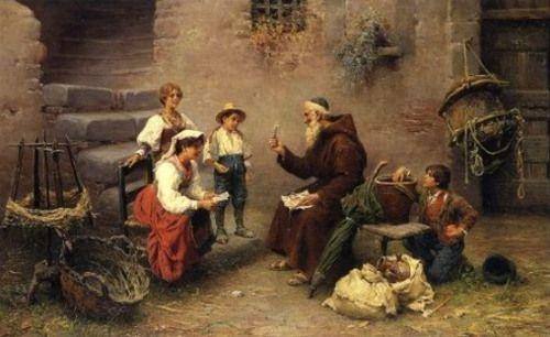 """A Lesson In Scripture"". Francesco Bergamini (1815 – 1883), Italian painter."