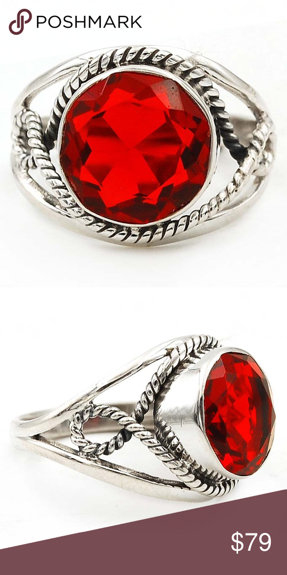 1ef7ae01f 6CT Natural Fire Garnet 925 Solid Silver Ring 8.5 6CT Natural Fire Garnet  925 Solid Sterling