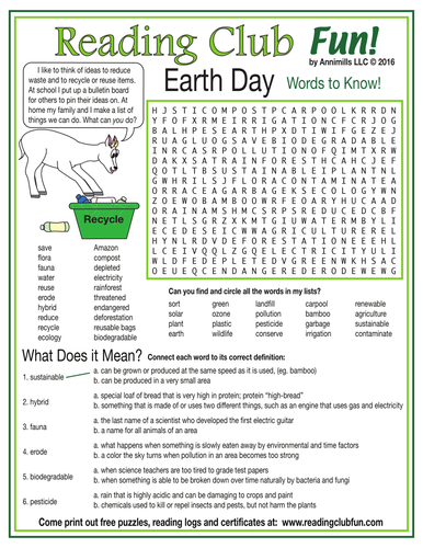 Environment-Related Words to Know (Earth Day) Word Search Puzzle ...