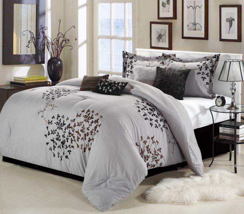 Space Living Chelia Grey 8 Piece Comforter Set Comforter Sets Comforter Sets Bedding Sets