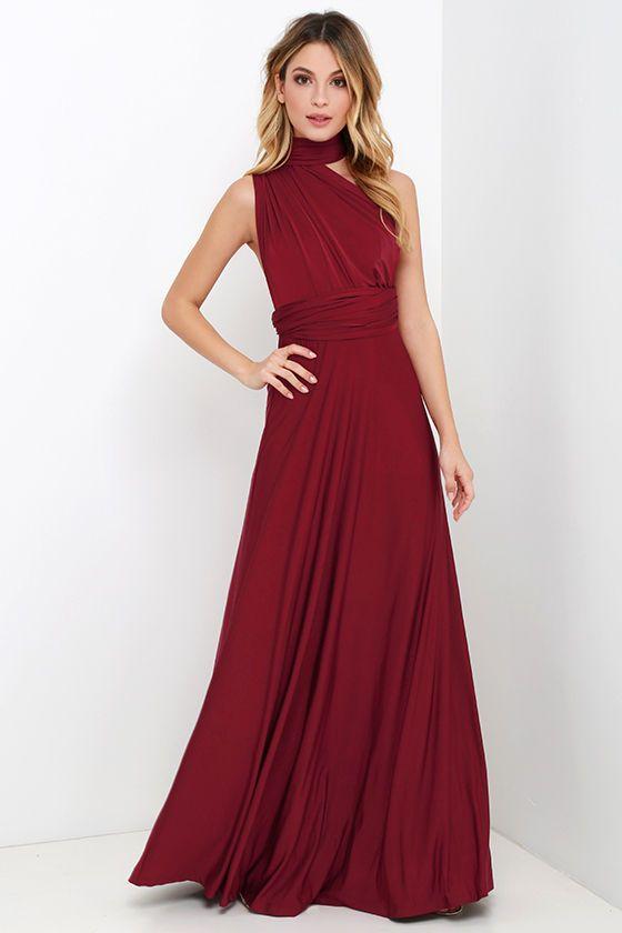 Always Stunning Convertible Burgundy Maxi Dress Burgundy Maxi Dress Infinity Dress Ways To Wear Maxi Dress