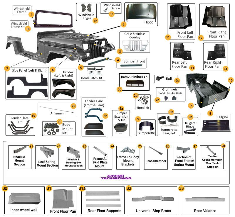 Jeep Wrangler YJ Body Parts Diagram Jeep Pinterest – Jeep Yj Tail Light Wiring
