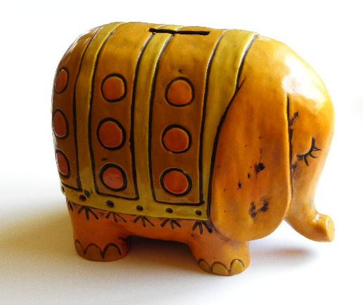Vintage 1960s Yellow Elephant Bank by on