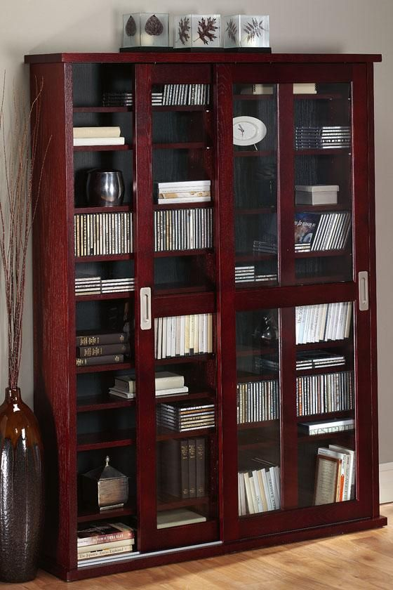oak veneer double multimedia case with glass doors media cabinet cd and dvd storage - Cabinet With Glass Doors