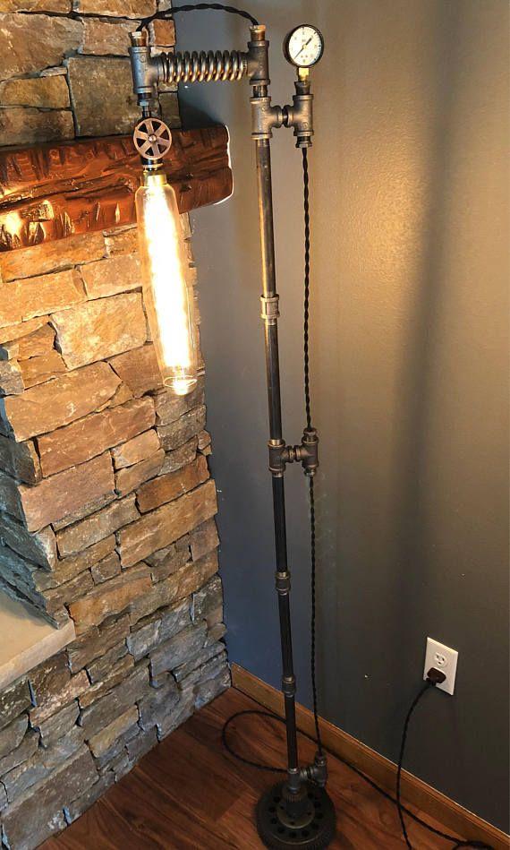 industrial floor lamp floorlamp steampunk vintage farmhouse pipe ...
