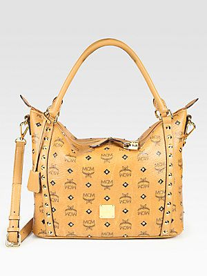 MCM 24K Gold Studded Coated Canvas Shopper. I want this