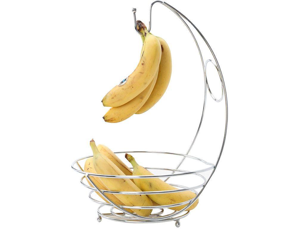 in chrome banana hanger fruit bowl tree holder storage basket