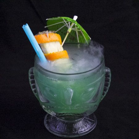 New Tiki Drink: The Tiki Tree Viper: rum, green chartreuse, blue curacao, lime juice, orange juice, and orgeat