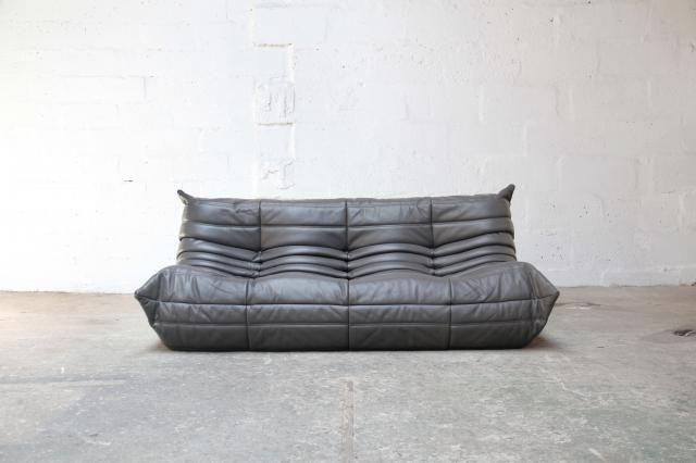 Vintage Leather Togo Sofa By Michel Ducaroy For Ligne Roset For Sale