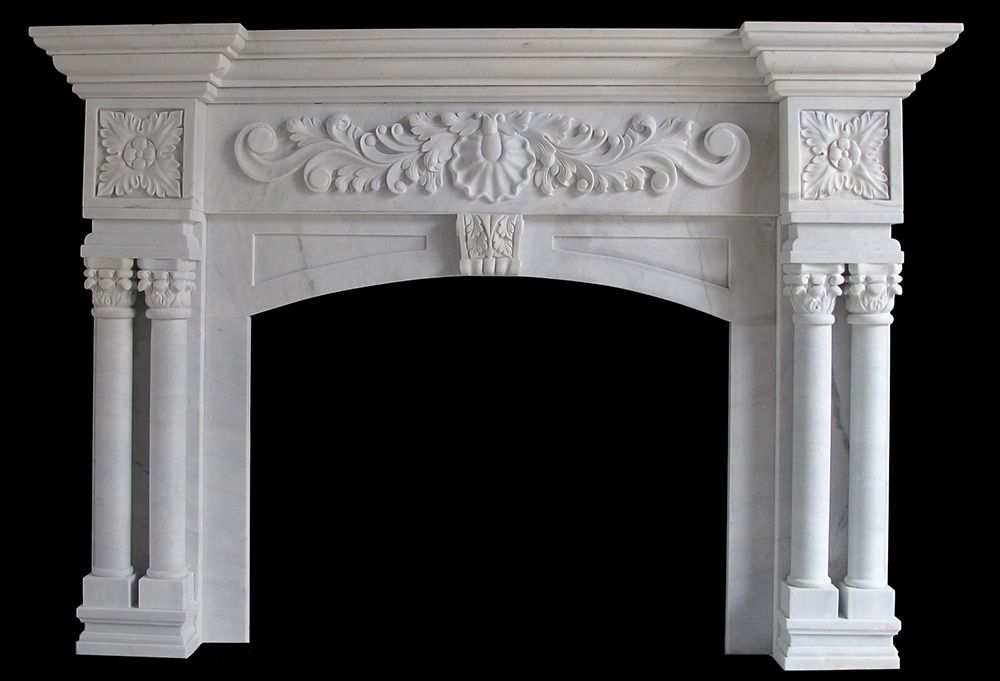 White Marble Columns Round Tapered With Decorative Cap And Base On