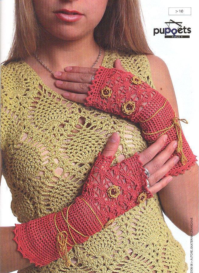 Guantes sin Dedos de Crochet con Dibujos - Patrones Crochet ...