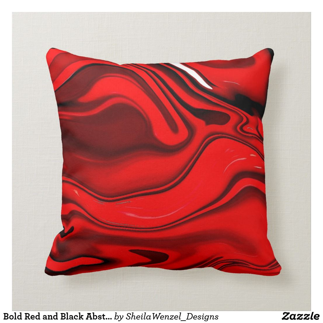 Bold Red And Black Abstract Pillow Zazzle Co Nz Black Abstract Abstract Pillows Pillows