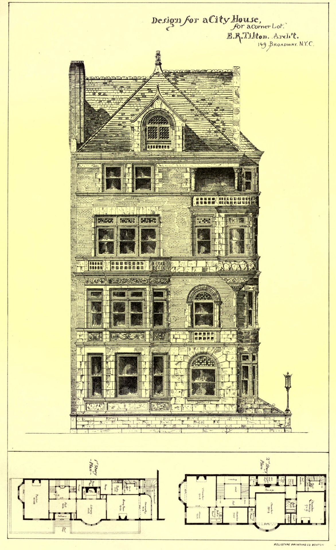 Design for a city house for a corner lot, New York City | Houses ...