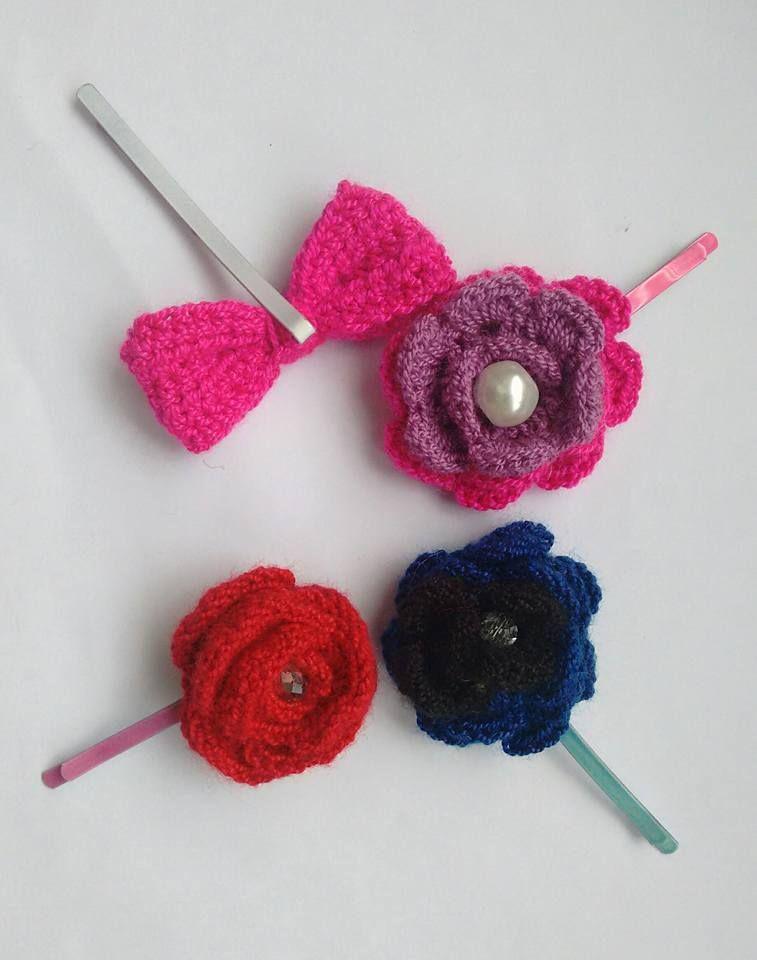 Flores tejidas. Hermosa #Flowers #Crochet #Color Encuentralas en www.facebook.com/ilonka.tejidos