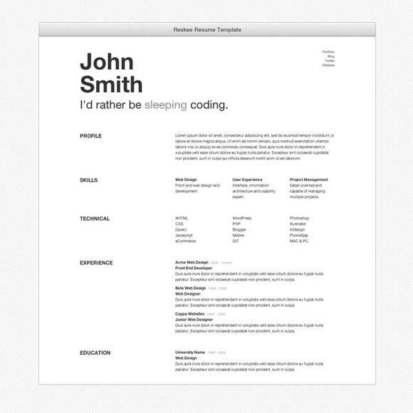 Reskee Resume Bootstrap  Template By Cardeo On Creative Market