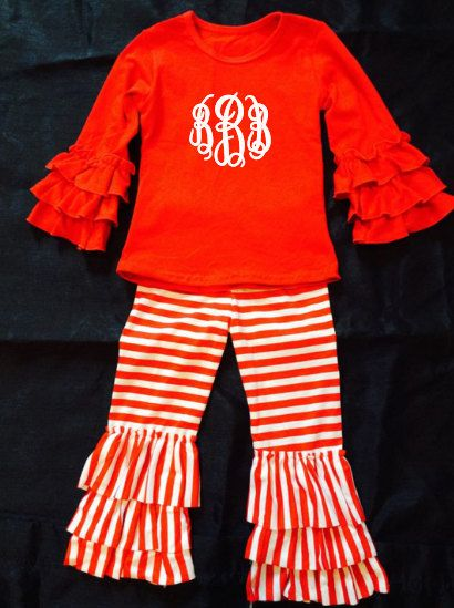 cc4cb0749 5T Embroidered Personalized Monogrammed Christmas Valentines Day Long  Sleeve Red top Red and White Striped Ruffled pant Outfit Toddler Girl by ...