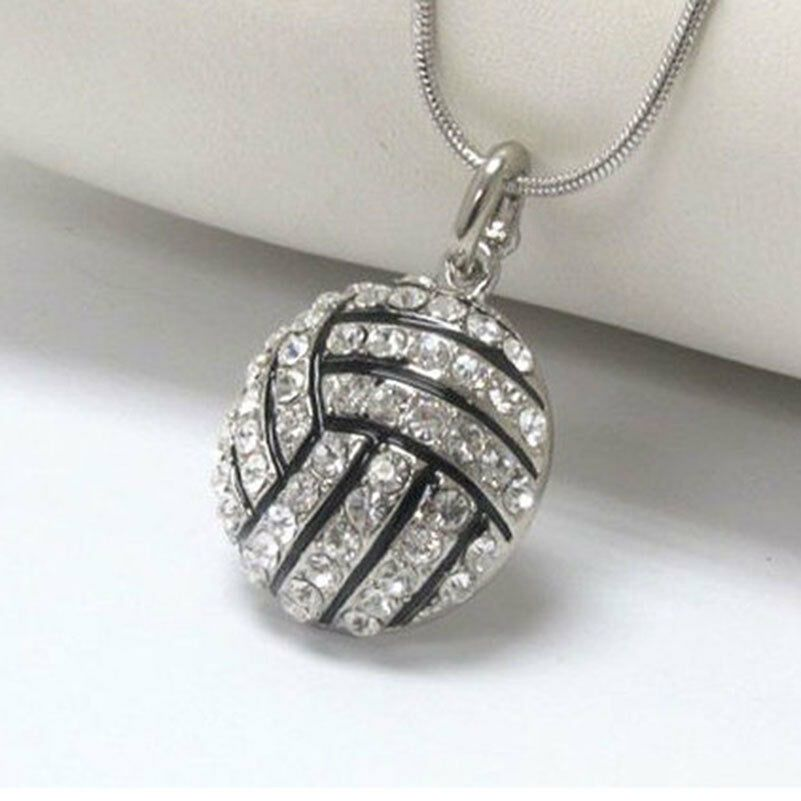 3D Crystal Rhinestone Volleyball Pendant Snake Chain Necklace Unisex Jewelry