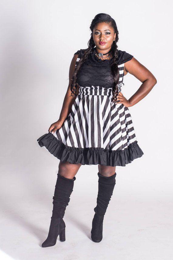 Striped Tim Burton Dress - Jack Skellington Cosplay - Adult Halloween  Costume Gothic Lolita-