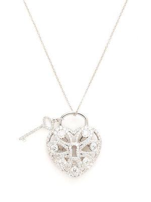 418bcdb241df Estate Jewelry Tiffany   Co. Diamond Filigree Heart Lock Pendant Necklace
