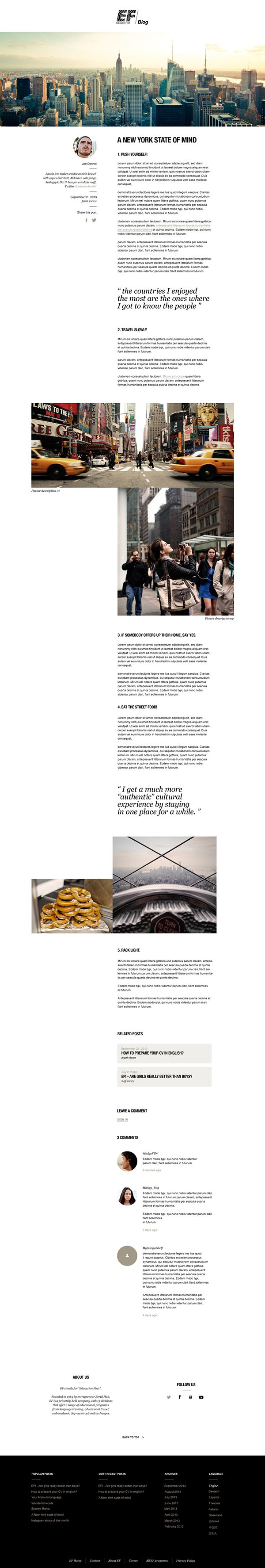 Web | EF Blog on Behance // Somewhat similar to the design I currently have on my site, just missing the third column.