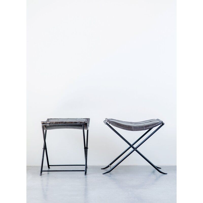 Incredible Karlin Collapsible Leather Metal Vanity Stool In 2019 Home Dailytribune Chair Design For Home Dailytribuneorg