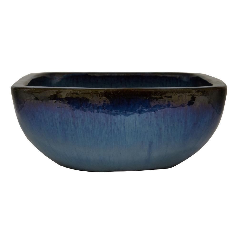 Trendspot 16 In D Blue Ceramic Lagos Bowl Planter Cr70027n 160p Ceramic Planters Planters Blue Ceramics