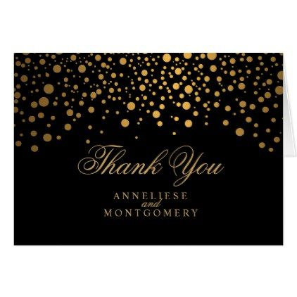 #wedding #thankyoucards - #Stylish Gold Confetti Dots   Black Card