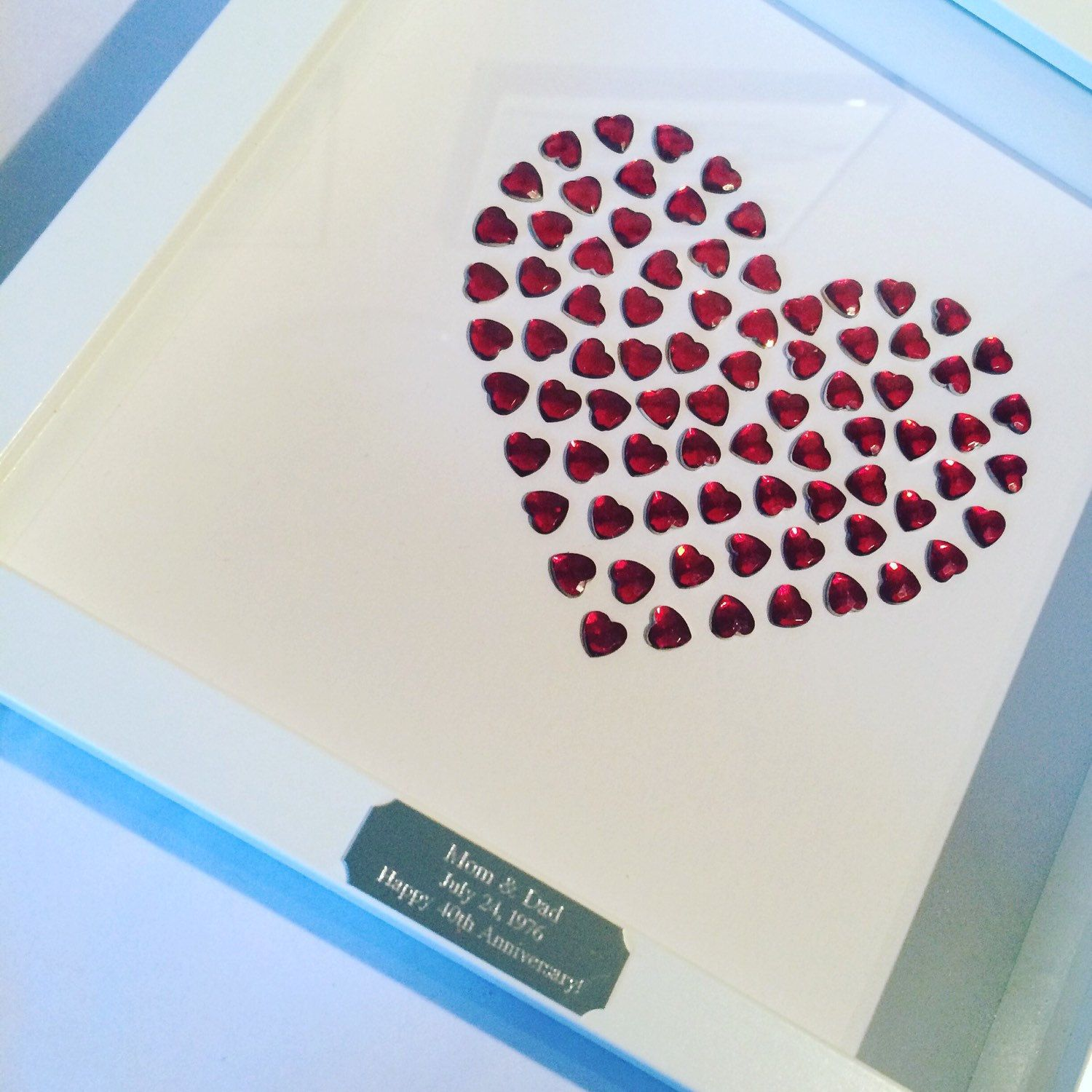 Framed Personalised Ruby Heart 40th Wedding Anniversary Gift