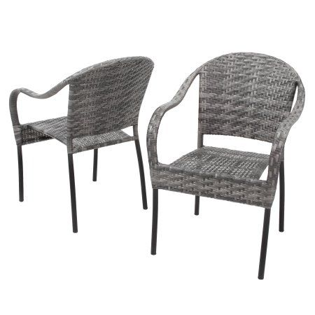 Phenomenal Grey Outdoor Wicker Chair Set Of 2 Home Sweet Home Gmtry Best Dining Table And Chair Ideas Images Gmtryco