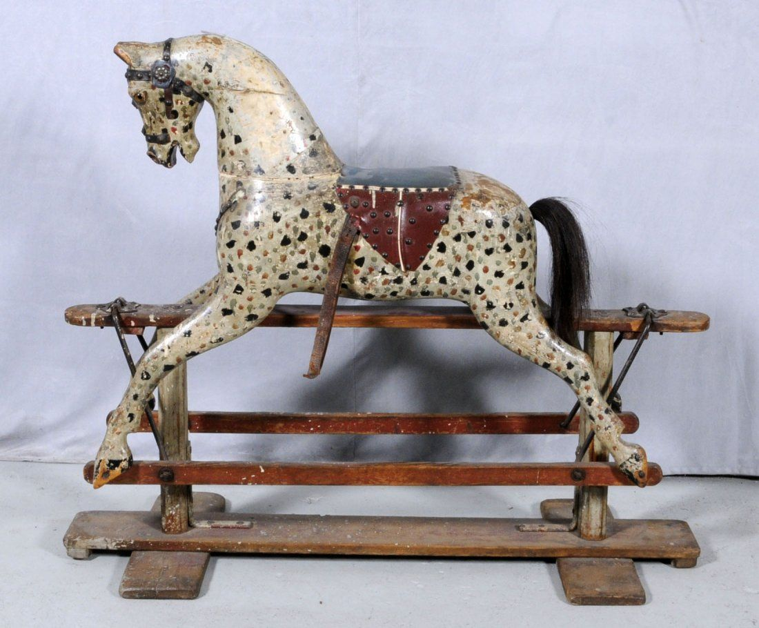 90 Antique Wood Carved Rocking Horse Glass Eyes Mak May 23 2012 Ames Auctioneers In Ca Rocking Horse Toy Rocking Horse Antique Rocking Horse
