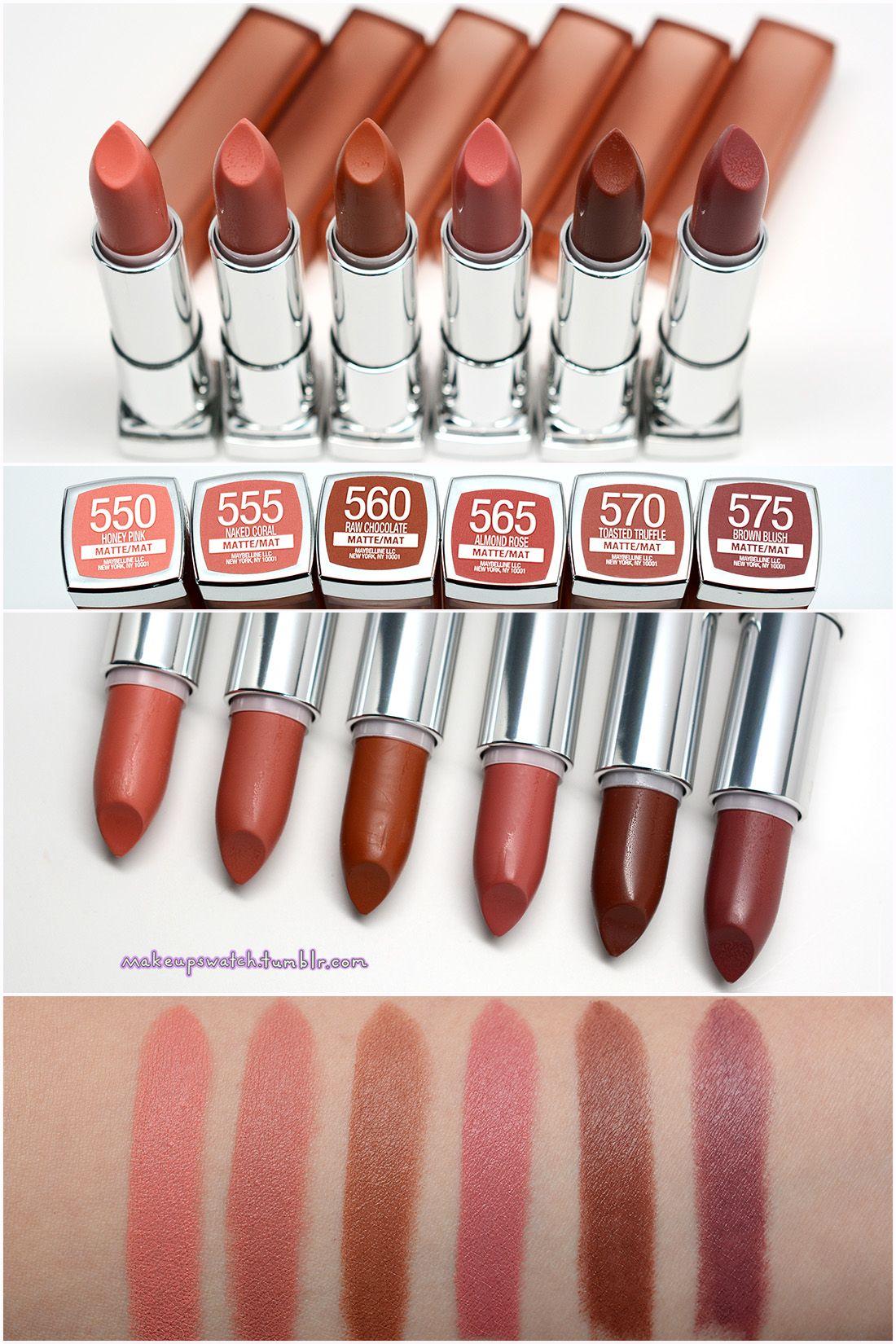 maybelline - inti-matte nudes lipsticks | swatches. | pinterest