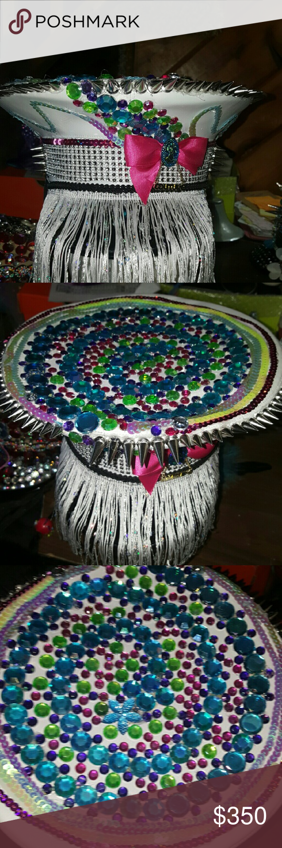 Upcycled Fun Festival Hat! Fun festival hat! These hats are hard to come by and are all handmade... Please feel free to ask any questions or have a custom order made today that would be one of a kind... Please feel free to look at my closet and share and I will make sure if you do the same ..reasonable offers only Cats Eye Design Accessories Hats