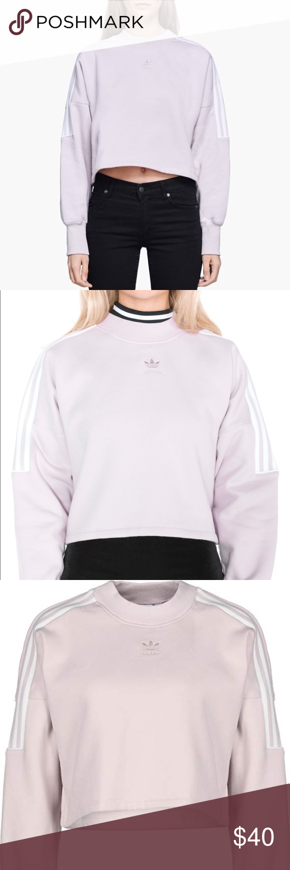 Adidas Cropped Light Pink Sweatshirt Crewneck Adidas Crop Sweatshirts Clothes Design [ 1740 x 580 Pixel ]