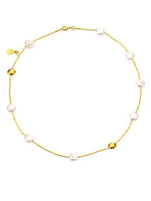 GURHAN Lentil 11MM White Coin Pearl & 18-24K Yellow Gold Necklace