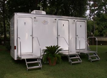 Three stall unit high end portapottie rentals this - Portable bathroom rentals for weddings ...
