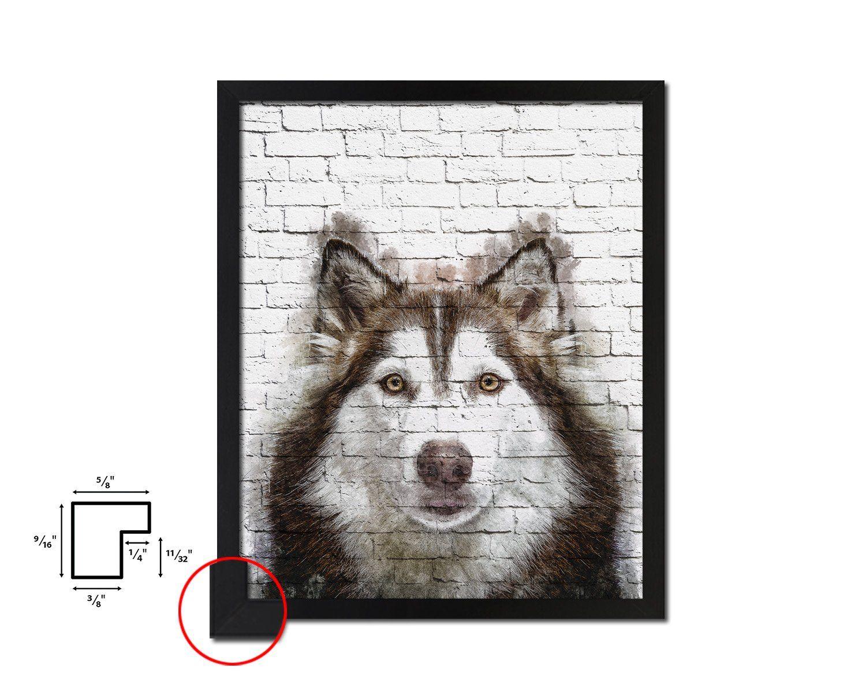 Siberian Husky Dog Puppy Portrait Framed Print Pet Home Decor