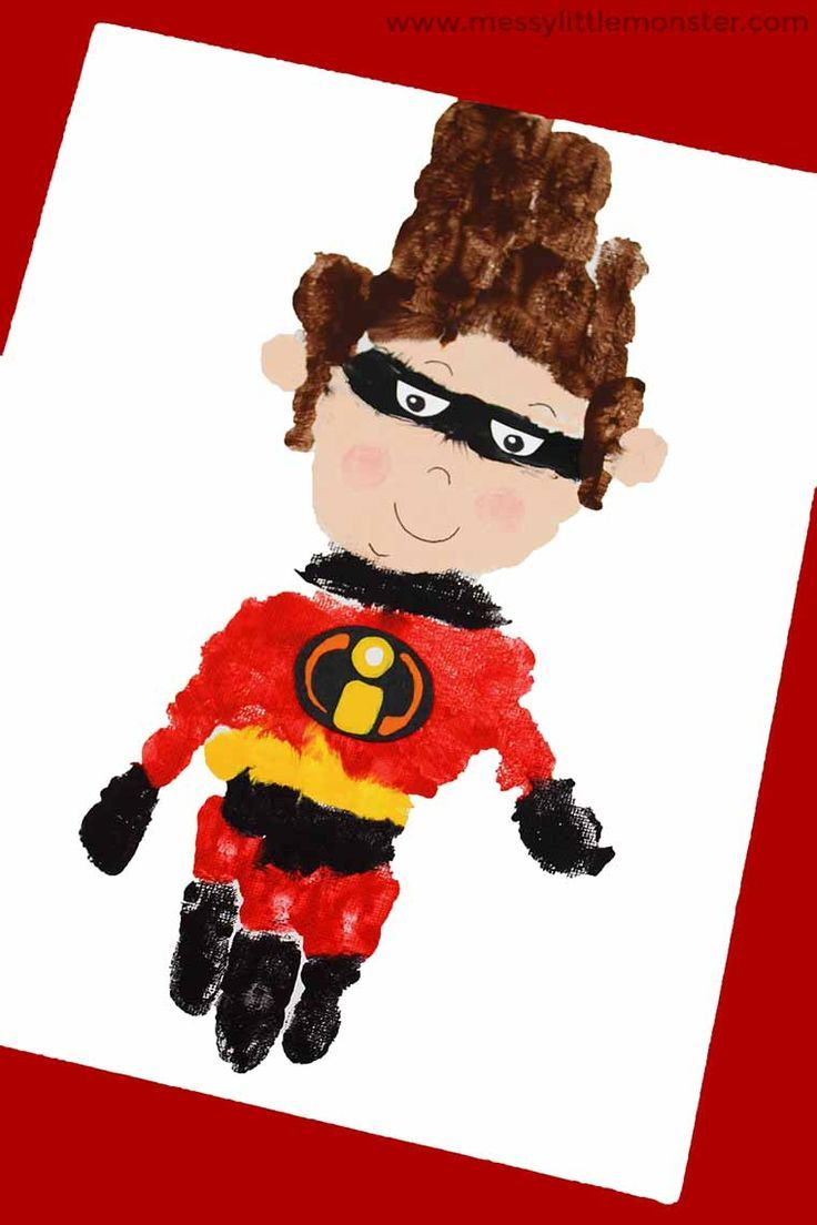 Superhero handprint Craft - The Incredibles 2 superhero activity #superherocrafts